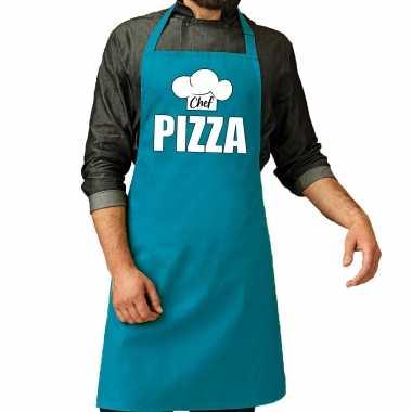Chef pizza keukenschort / keukenschort turqqoise heren