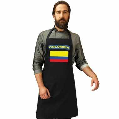 Colombia vlag barbecuekeukenschort/ keukenschort zwart volwassenen