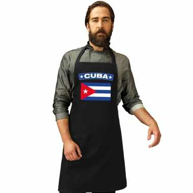Cuba vlag barbecuekeukenschort/ keukenschort zwart volwassenen