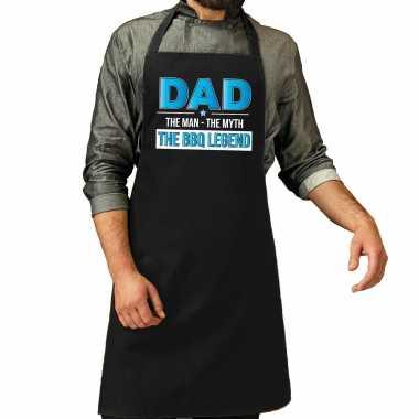 Dad the bbq legend cadeau katoenen keukenschort zwart heren