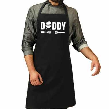 Daddy bbq / barbecue cadeau katoenen keukenschort zwart heren