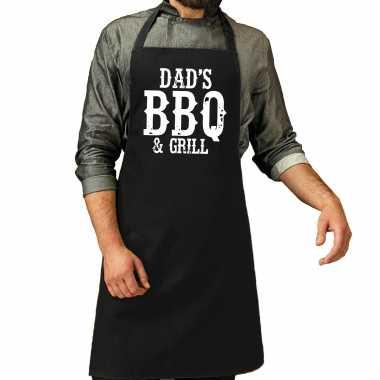 Dads bbq grill cadeau katoenen keukenschort zwart heren