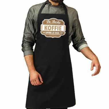 De beste koffie keukenschort zwart heren