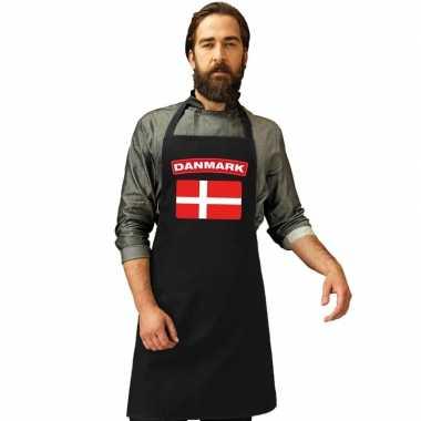 Denemarken vlag barbecuekeukenschort/ keukenschort zwart volwassenen