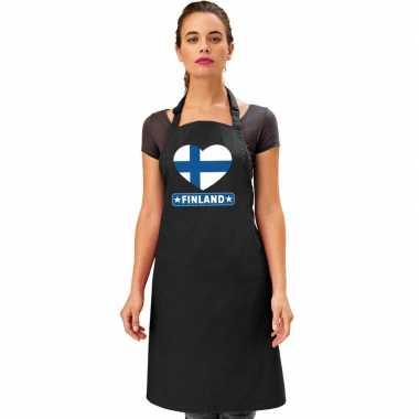 Finland hart vlag barbecuekeukenschort/ keukenschort zwart