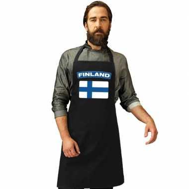 Finland vlag barbecuekeukenschort/ keukenschort zwart volwassenen