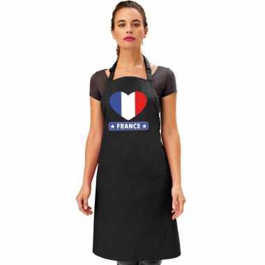 Frankrijk hart vlag barbecuekeukenschort/ keukenschort zwart