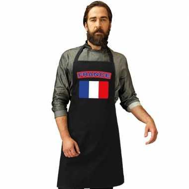 Frankrijk vlag barbecuekeukenschort/ keukenschort zwart volwassenen
