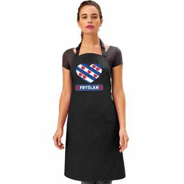 Friesland hart vlag barbecuekeukenschort/ keukenschort zwart
