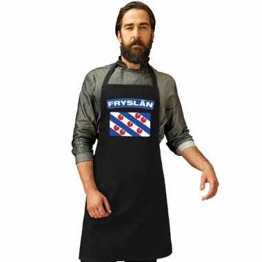 Friesland vlag barbecuekeukenschort/ keukenschort zwart volwassenen