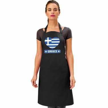 Griekenland hart vlag barbecuekeukenschort/ keukenschort zwart