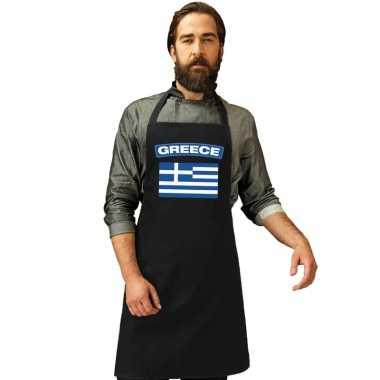 Griekenland vlag barbecuekeukenschort/ keukenschort zwart volwassenen