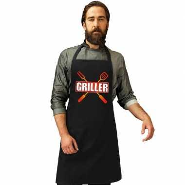 Griller barbecuekeukenschort/ keukenschort zwart heren