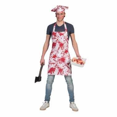 Halloween bloederig keukenschort koksmuts volwassenen