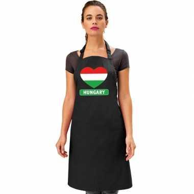 Hongarije hart vlag barbecuekeukenschort/ keukenschort zwart