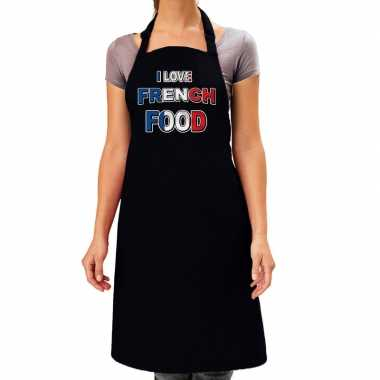 I love french food barbecue/keuken keukenschort zwart dames