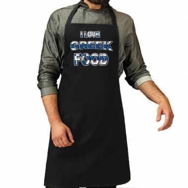 I love greek food barbecue/keuken keukenschort zwart heren