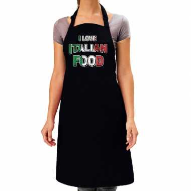 I love italian food barbecue/keuken keukenschort zwart dames