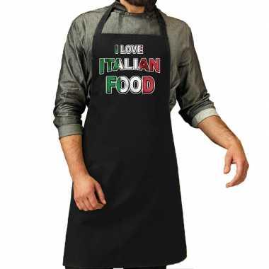 I love italian food barbecue/keuken keukenschort zwart heren