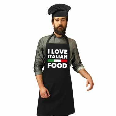 I love italian food keukenschort koksmuts zwart heren