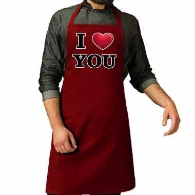 I love you barbecuekeukenschort rood heren