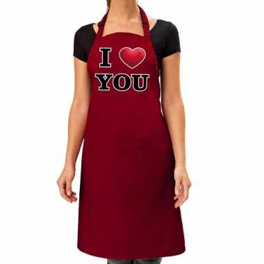 I love you keukenschort rood dames