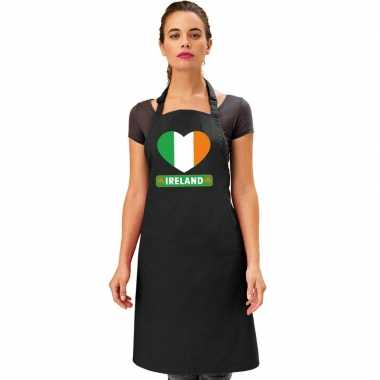 Ierland hart vlag barbecuekeukenschort/ keukenschort zwart