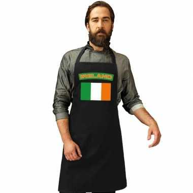 Ierland vlag barbecuekeukenschort/ keukenschort zwart volwassenen