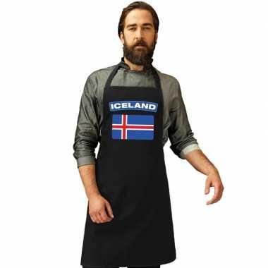Ijsland vlag barbecuekeukenschort/ keukenschort zwart volwassenen