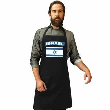 Israel vlag barbecuekeukenschort/ keukenschort zwart volwassenen