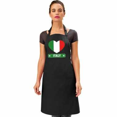 Italie hart vlag barbecuekeukenschort/ keukenschort zwart