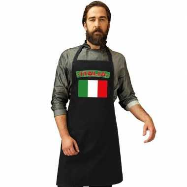 Italie vlag barbecuekeukenschort/ keukenschort zwart volwassenen