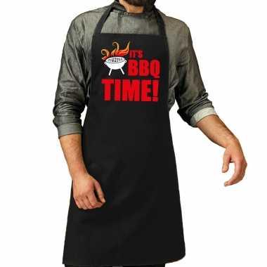 Its bbq time bbq keukenschort / keukenschort zwart heren