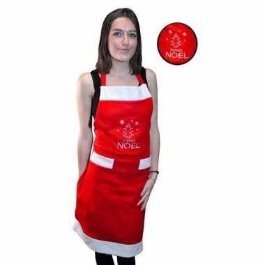 Kerst keukenschort rood joyeux noel volwassenen