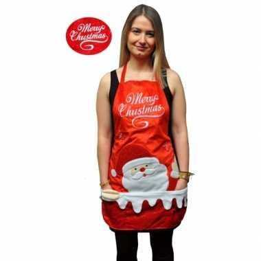 Kerstkleding keukenschort merry christmas
