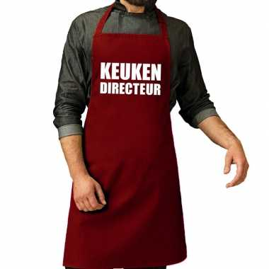 Keuken directeur barbeque keukenschort / keukenschort bordeaux rood v