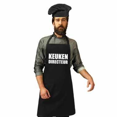 Keuken directeur keukenschort zwart heren zwarte koksmuts
