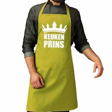 Keuken prins barbeque keukenschort / keukenschort lime groen heren