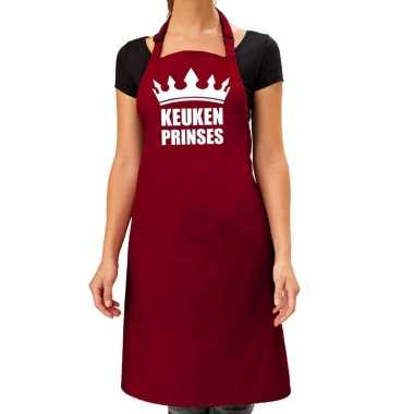 Keuken prinses barbeque keukenschort / keukenschort bordeaux dames