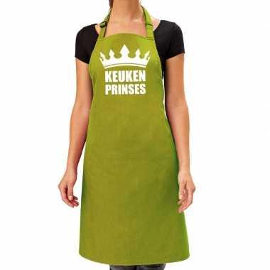 Keuken prinses barbeque keukenschort / keukenschort lime groen dames