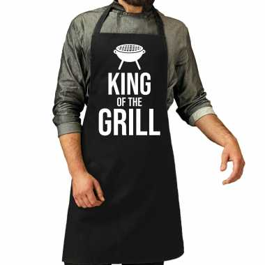 King of the grill barbecue / bbq keukenschort zwart heren