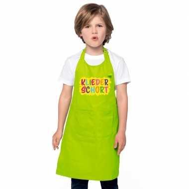 Kliederkeukenschort lime groen kinderen