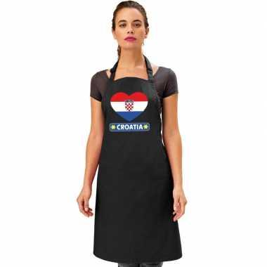Kroatie hart vlag barbecuekeukenschort/ keukenschort zwart