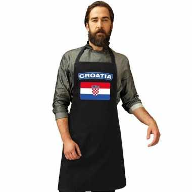Kroatie vlag barbecuekeukenschort/ keukenschort zwart volwassenen