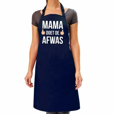 Mama doet afwas cadeau katoenen keukenschort blauw dames