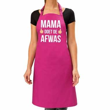 Mama doet afwas cadeau katoenen keukenschort roze dames
