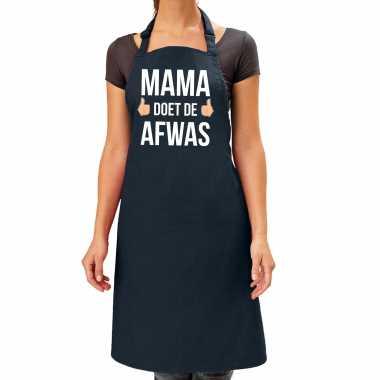 Mama doet afwas cadeau katoenen keukenschort zwart dames
