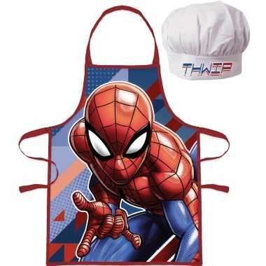 Marvel spiderman keukenschort koksmuts kinderen