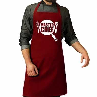 Master chef barbeque keukenschort / keukenschort bordeaux rood heren