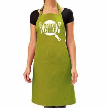 Master chef barbeque keukenschort / keukenschort lime groen dames